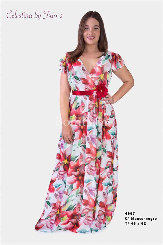 9779d9207 Vestido largo floral talla grande disponible desde la 48 hasta la 62 -  Imagen 1