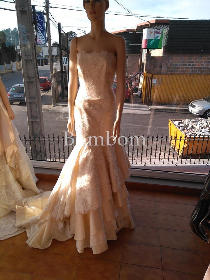vestido de novia corte sirena blanco roto - vestido novia largo