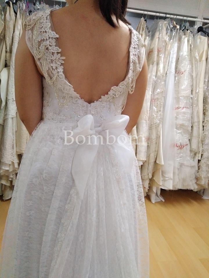 Vestido Novia Blanco Encaje Vintage Espalda Semidescubierta Con Perlas